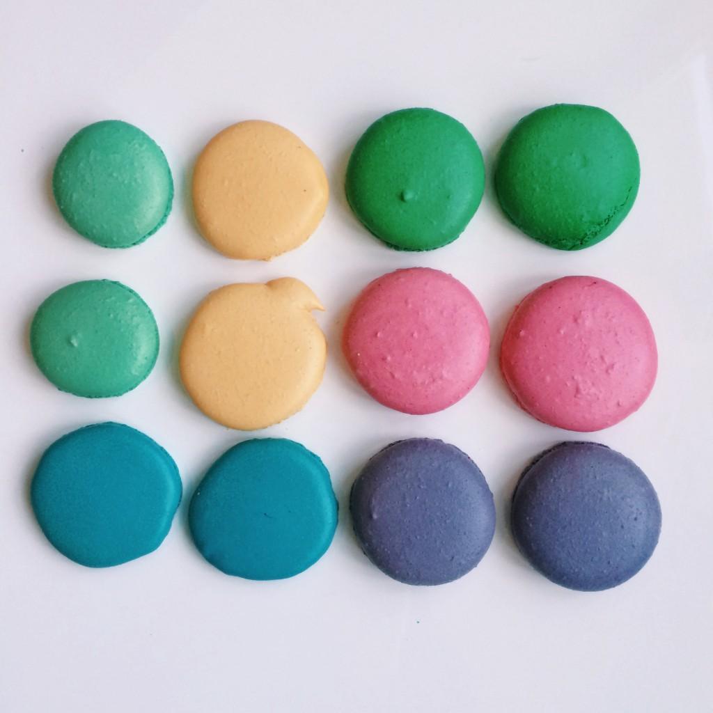 Macarons op een rij