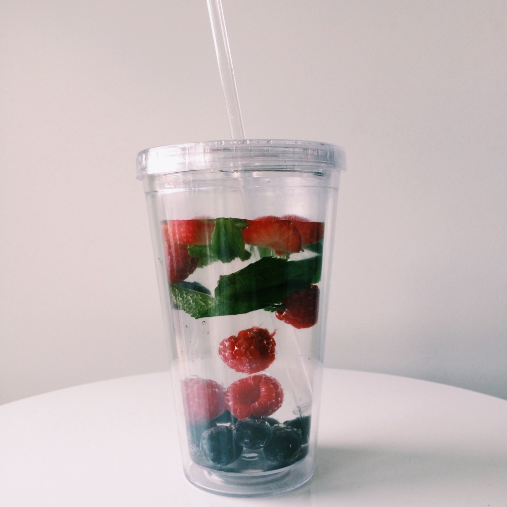 flavored water in a tumbler