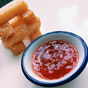 fried funchi tomato marmelade culinessa