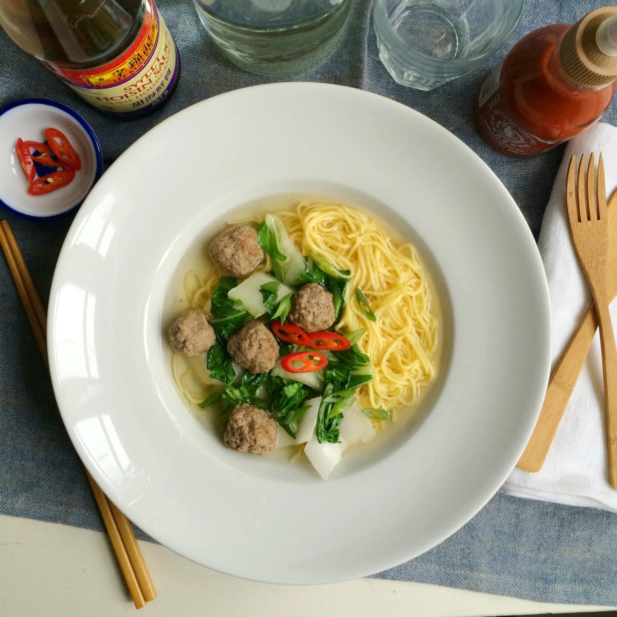 asian noodle soup sq - Aziatische Noedel soep met balletjes