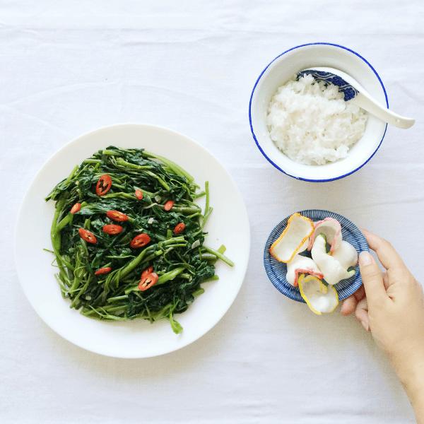 Recept: Oma's Kangkung Trassi