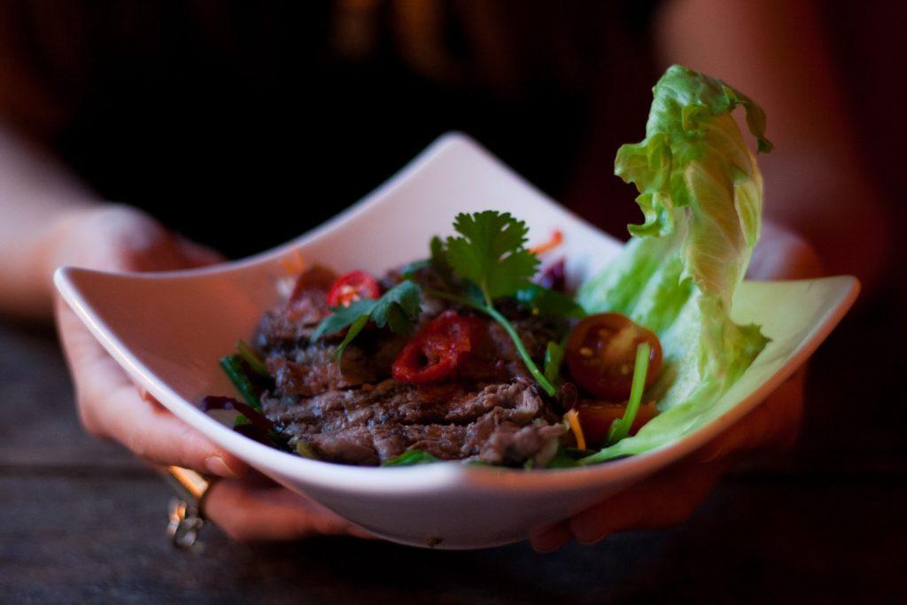Thai Beef salad from restaurant Woo Bros