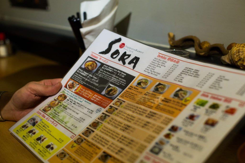 Sapporo Ramen Restaurant Sora menu