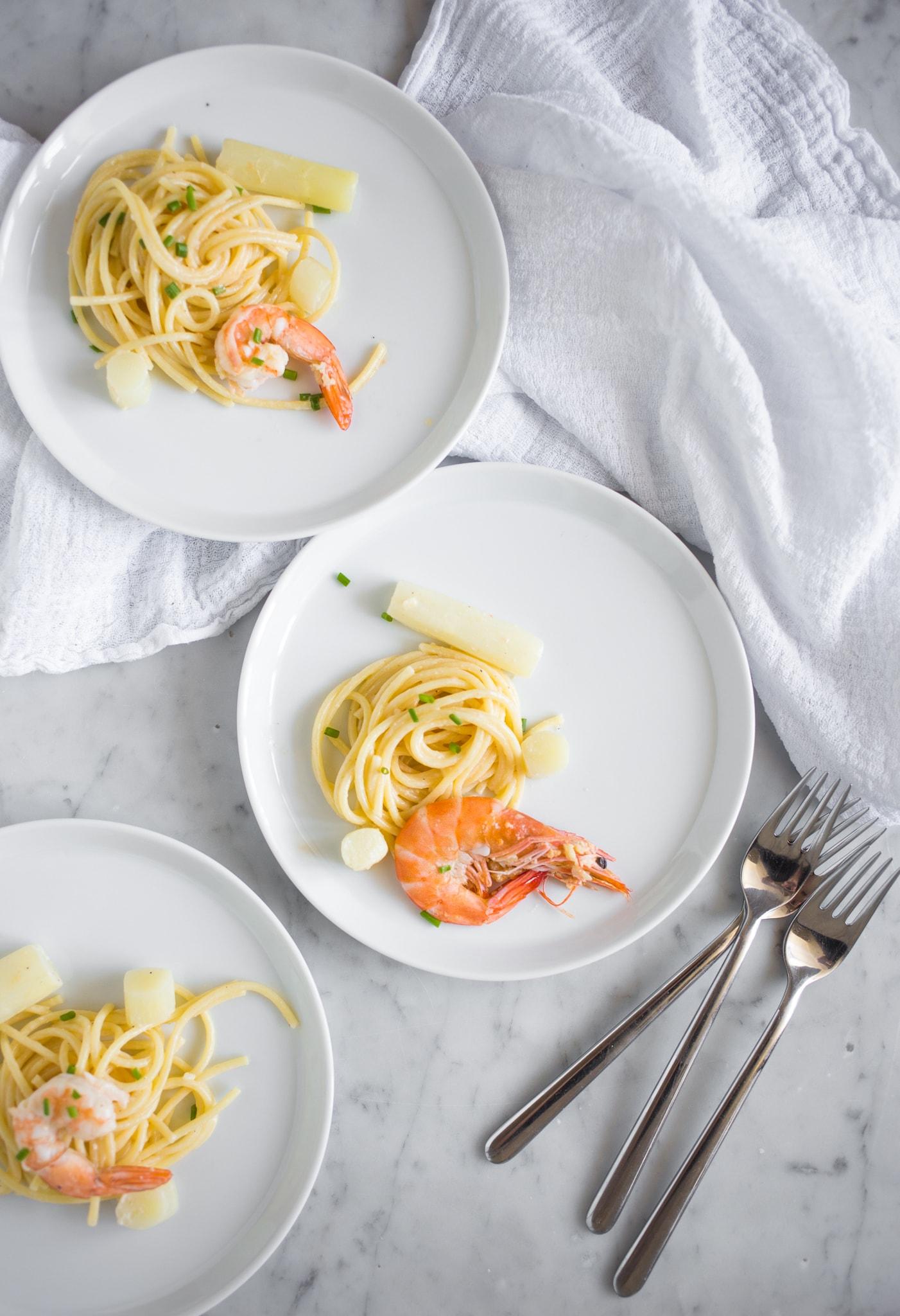 witte asperges met garnalen 2 - Recept Witte asperges met garnalen en pasta