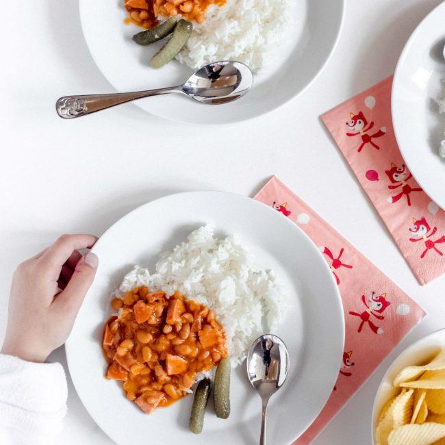 Witte bonen met rijst