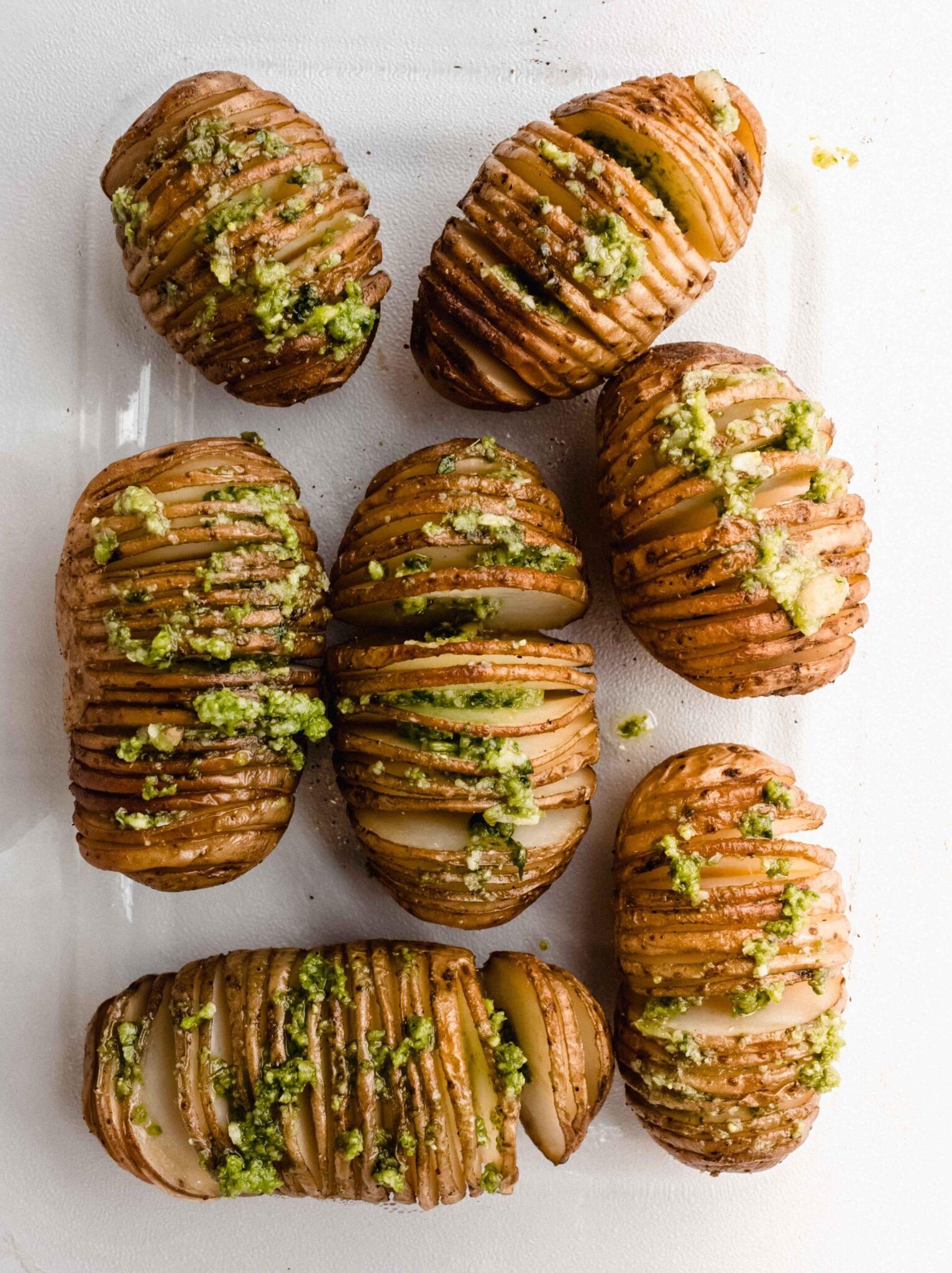 hasselback aardappelen pesto